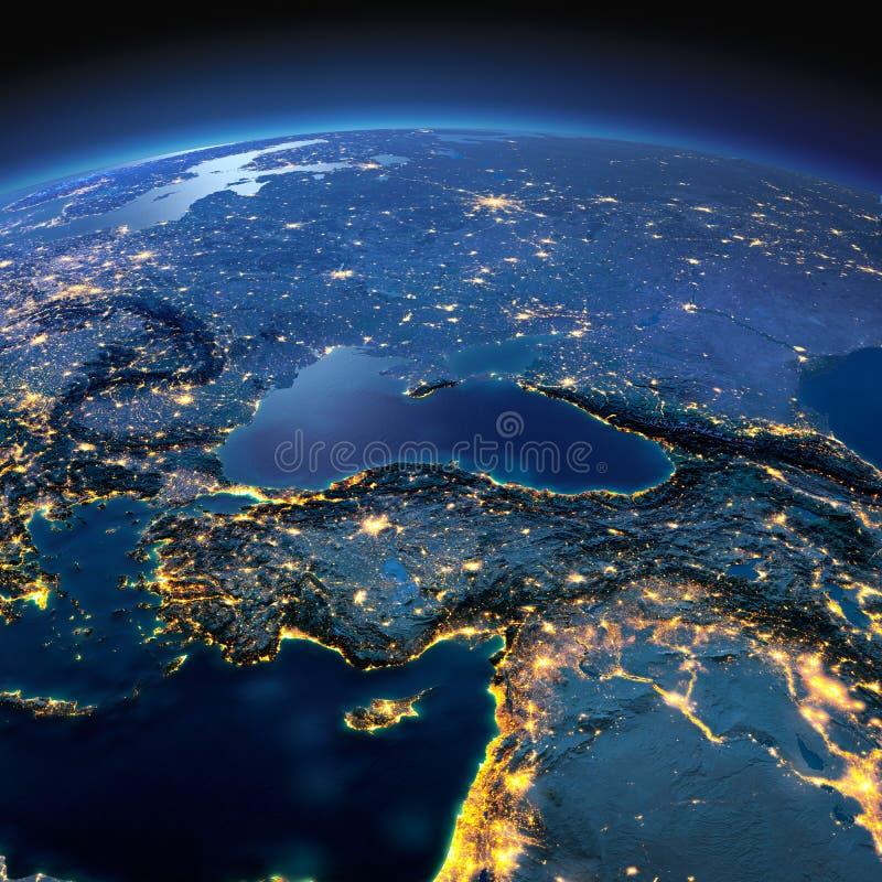 Detaljerad jord Turkiet och Mellan?sten l?nder royaltyfri illustrationer