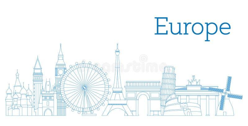 Detaljerad kontur för Europa horisont också vektor för coreldrawillustration stock illustrationer