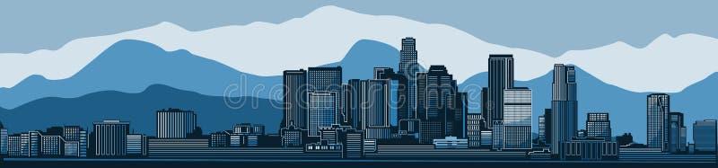 Detaljerad kontur för Los Angeles stadshorisont också vektor för coreldrawillustration royaltyfri illustrationer