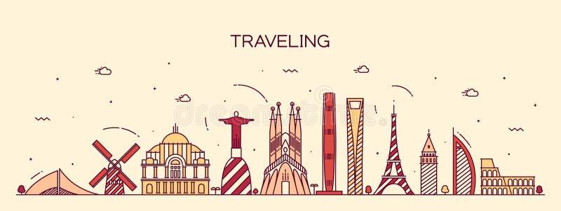 Detaljerad kontur för resande bakgrundshorisont stock illustrationer