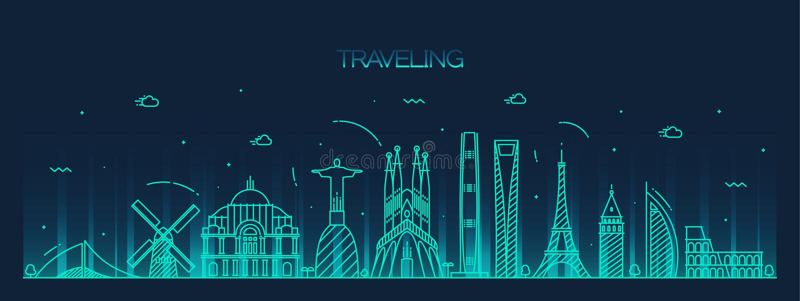 Detaljerad kontur för resande bakgrundshorisont vektor illustrationer