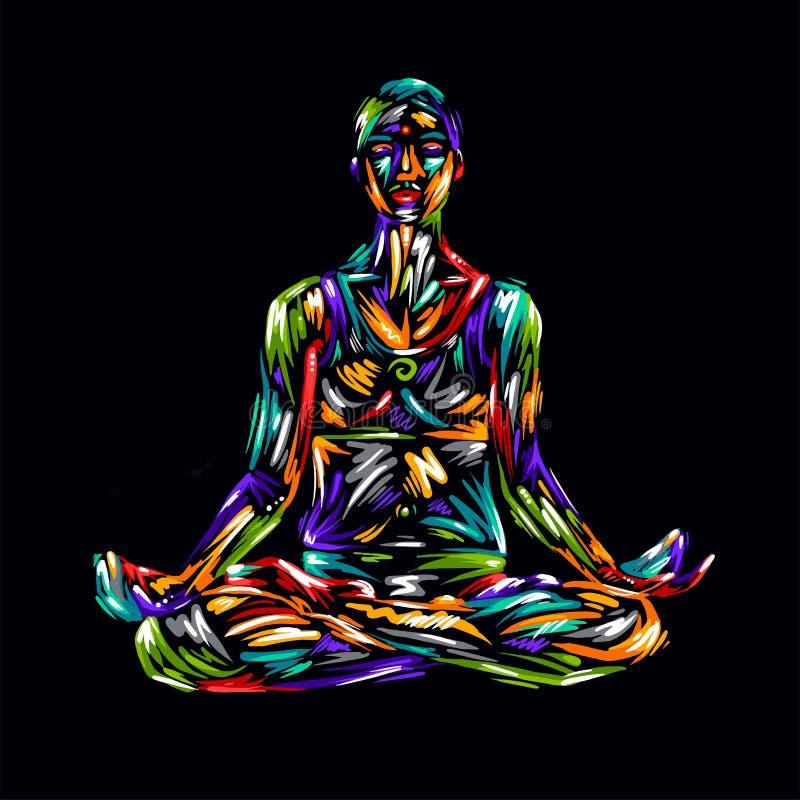 Detaljerad konturyogaillustration avkoppling för pilates för bollbegreppskondition gymnastik _ Posera av färgrika mummel för lotu stock illustrationer