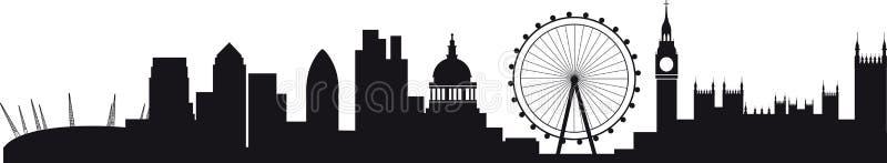 detaljerad london silhouettehorisont royaltyfri illustrationer