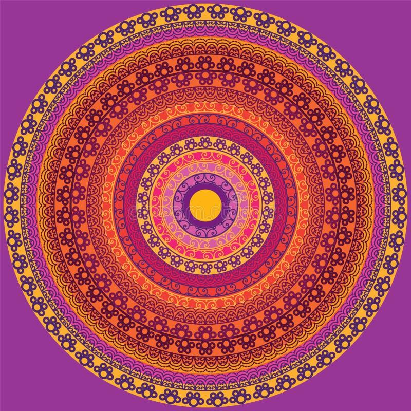 detaljerad mandala för design royaltyfri illustrationer