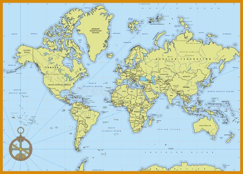 Detaljerad politisk världskarta vektor illustrationer