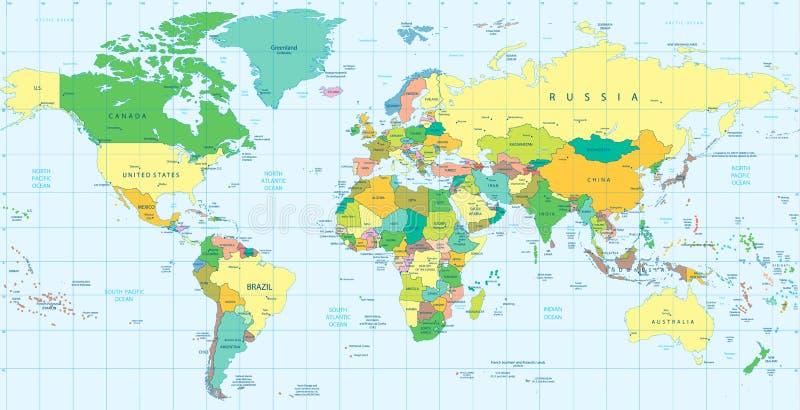 Detaljerad politisk världskarta royaltyfri illustrationer