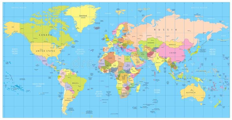 Detaljerad politisk världskarta: länder städer, vattenobjekt stock illustrationer