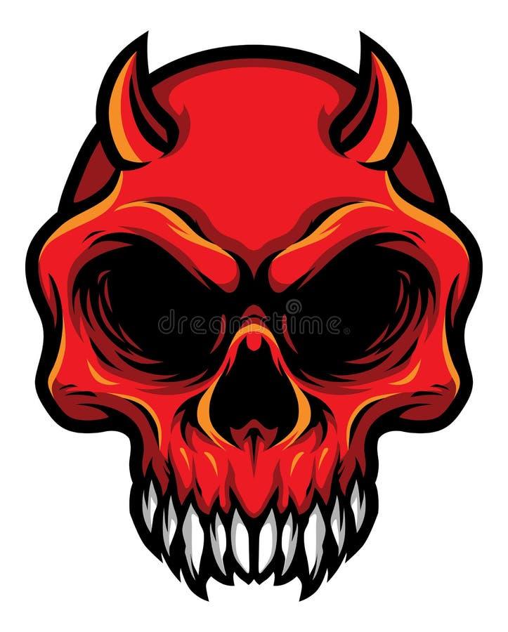 Detaljerad röd illustration för huvud för demonjäkelskalle stock illustrationer