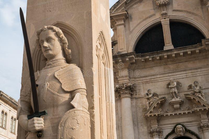 Detaljerad sikt av kolonnen för Orlando ` s, Dubrovnik arkivfoton