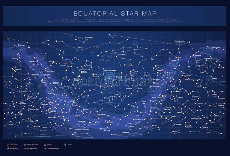 Detaljerad stjärnaöversikt med namn av stjärnor vektor illustrationer