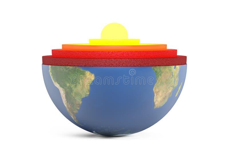 Detaljerad struktur av jordplanetbegreppet, tolkning 3D vektor illustrationer