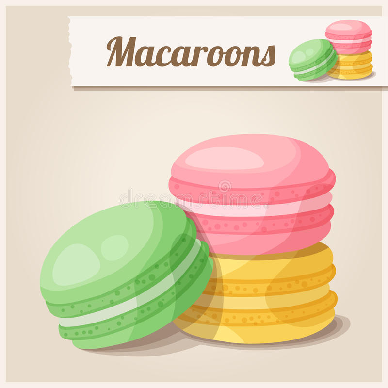 Detaljerad symbol macaroons stock illustrationer
