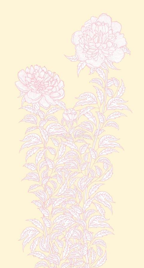 Detaljerad teckning för vektordiagram som visar en pionbuske stock illustrationer