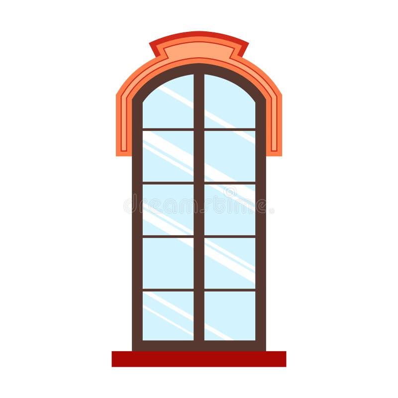 Detaljerad träfönsterram royaltyfri illustrationer