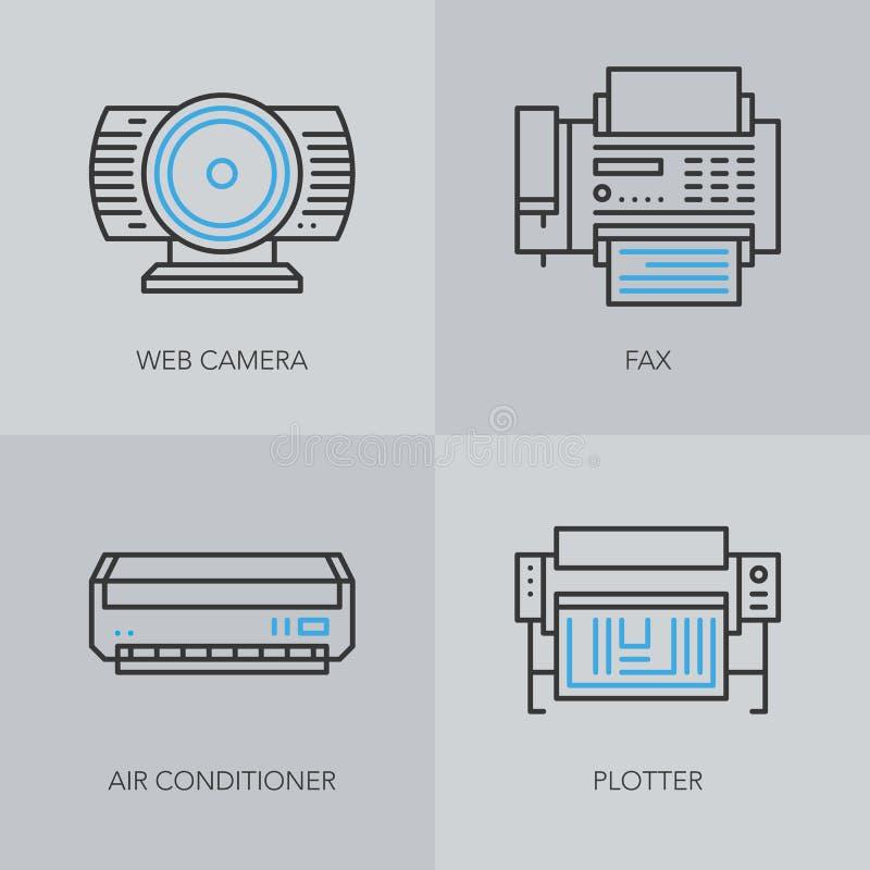 Detaljerad tunn linje symboler för affär royaltyfri illustrationer