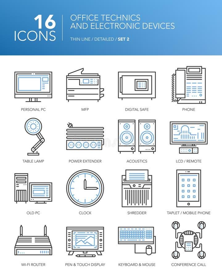 Detaljerad tunn linje symboler Kontorstekniker och elektroniska apparater royaltyfri illustrationer