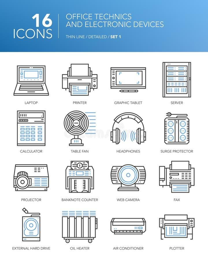 Detaljerad tunn vit linje symboler - kontorstekniker och elektroniska apparater stock illustrationer