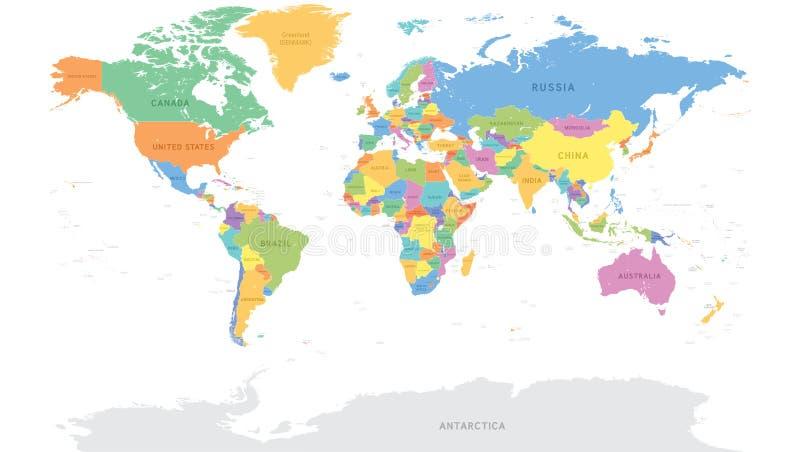 Detaljerad världskarta för vektor stock illustrationer