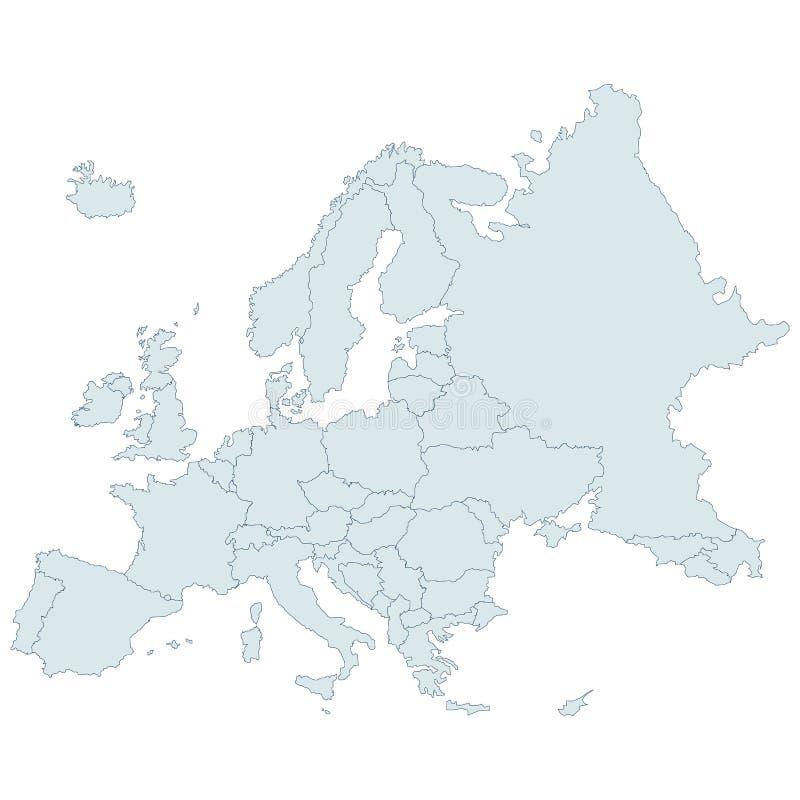 Detaljerad vektoröversikt av Europa stock illustrationer