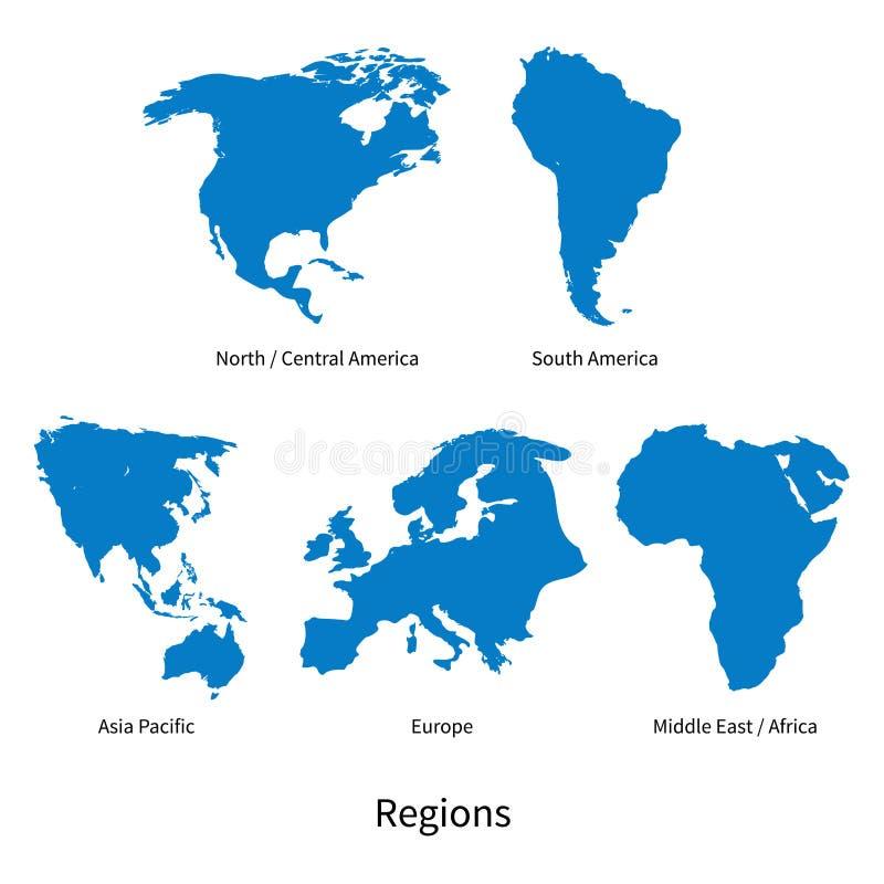 Detaljerad vektoröversikt av norden - Central America, Asia Pacific, Europa, Sydamerika, mitt och East Africa regioner royaltyfri illustrationer