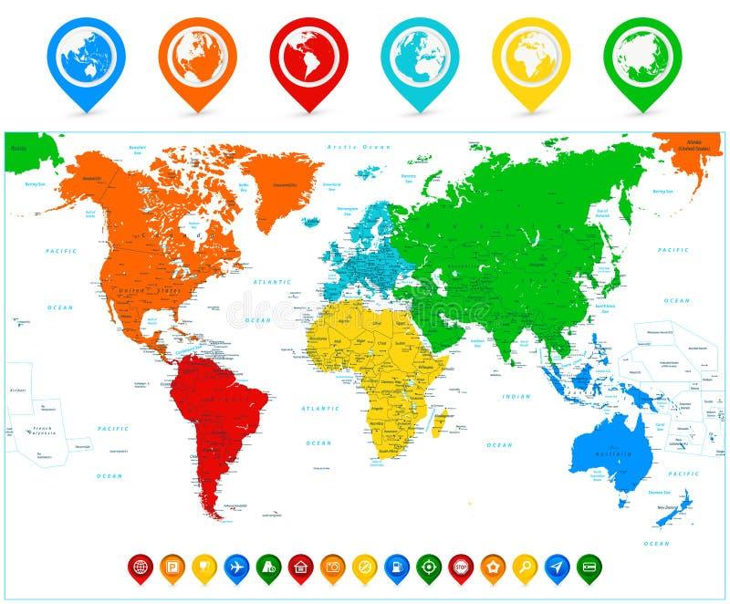 Detaljerad vektorvärldskarta med färgrika kontinenter och översiktspunkt stock illustrationer