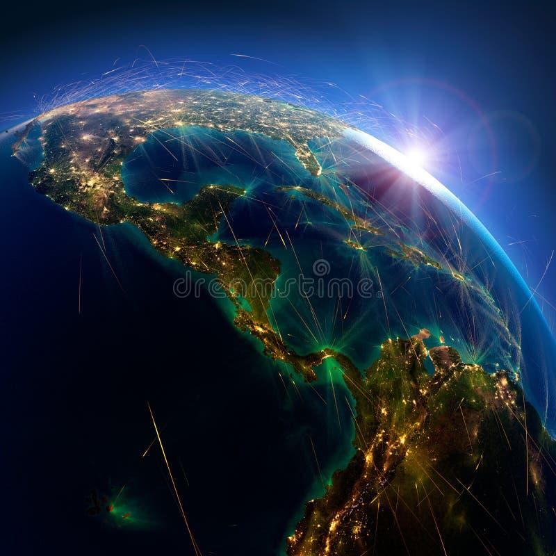 Detaljerade flygruttar p? jord Amerika planerar det centrala bildspr?k nasa Panama Colombia, Ecuador framf?rande 3d vektor illustrationer