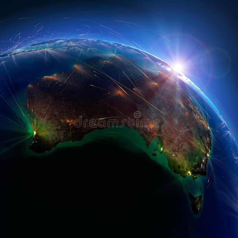 Detaljerade flygruttar p? jord australasian framf?rande 3d vektor illustrationer