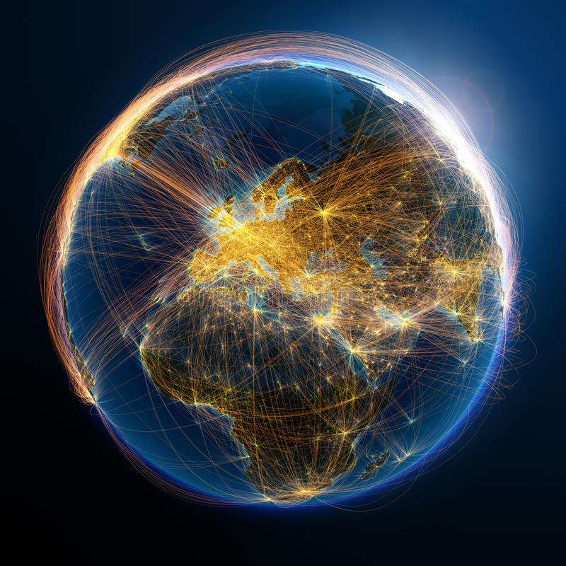 Detaljerade flygruttar p? jord vektor illustrationer