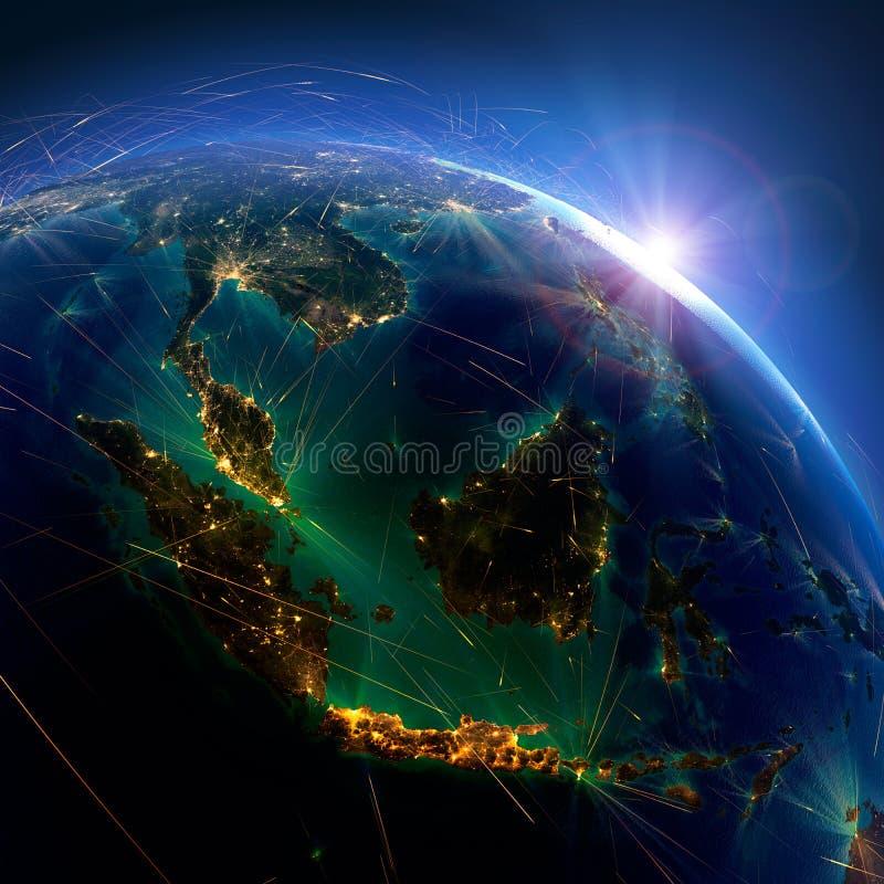 Detaljerade flygruttar p? jord Indonesien och Malaysia framf?rande 3d royaltyfri illustrationer