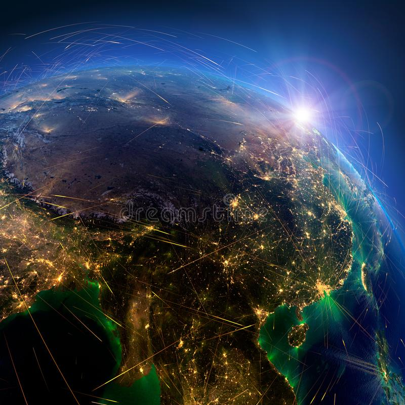Detaljerade flygruttar p? jord Kina framf?rande 3d vektor illustrationer