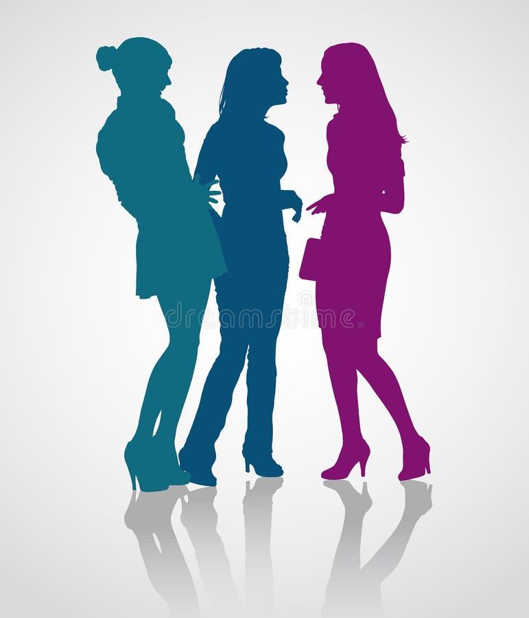 Detaljerade konturer av unga vuxna kvinnor på möte vektor illustrationer