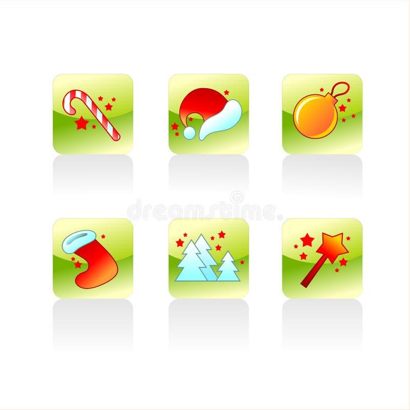 detaljerade symboler för jul stock illustrationer