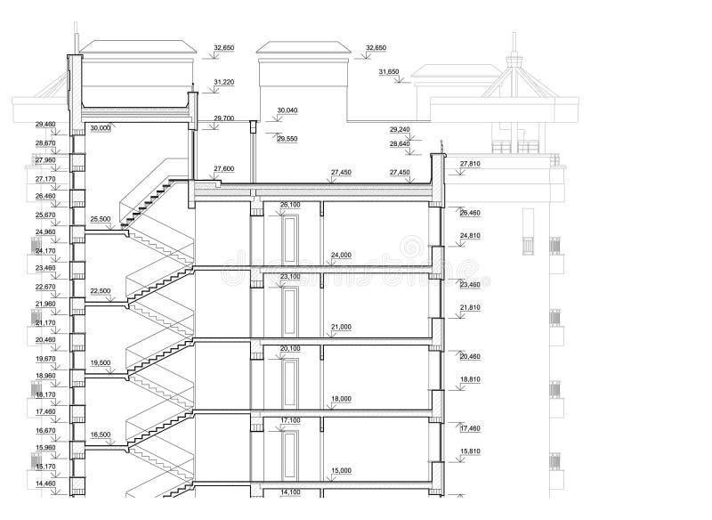 Detaljerat arkitektoniskt plan av flervånings- byggnad Tvärsnittsikt Vektorritning stock illustrationer