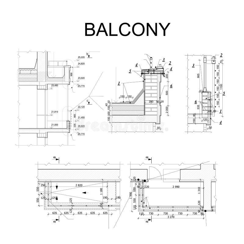 Detaljerat arkitektoniskt plan, ritning av balkongen vektor stock illustrationer