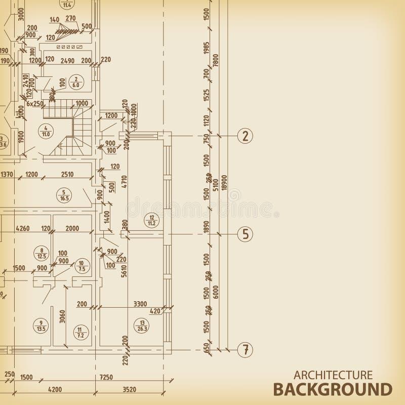 Detaljerat arkitektoniskt projekt stock illustrationer