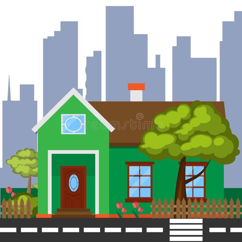 Detaljerat färgrikt hus Modernt grönt hus i plan stil arkivfoto