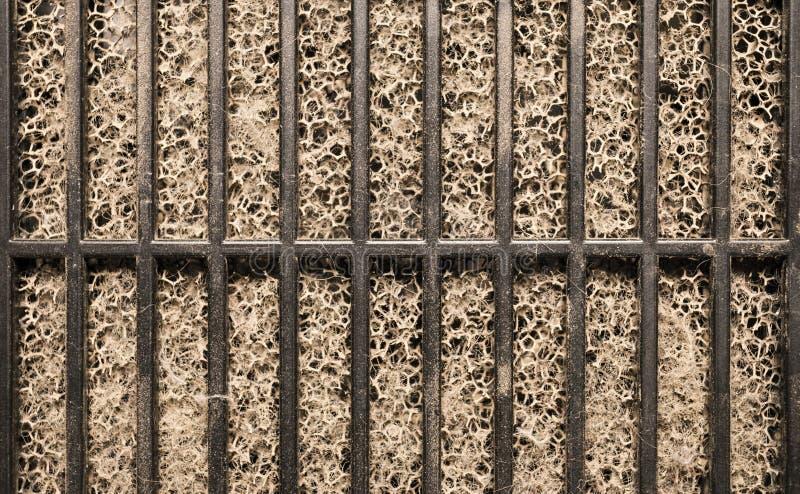 Detaljerat fragment av smutsig yttersida för luftfilter royaltyfria bilder