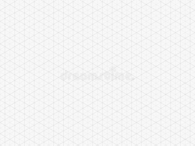 Detaljerat isometriskt raster Högkvalitativt triangelgrafpapper seamless modell Vektorrastermall Verkligt format stock illustrationer