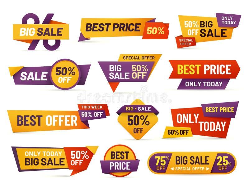Detaljhandelsreaetiketter Billig prisreklamblad, bästa erbjudandepris och stor samling för vektor för emblem för försäljningspris royaltyfri illustrationer