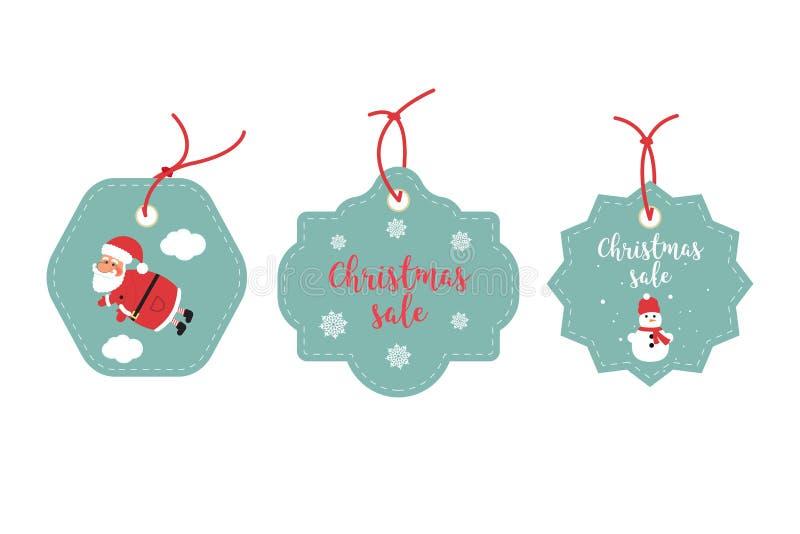 Detaljhandelsreaetiketter och rensningsetiketter Festlig juldesign Santa Claus, snöflingor och snögubbe vektor illustrationer