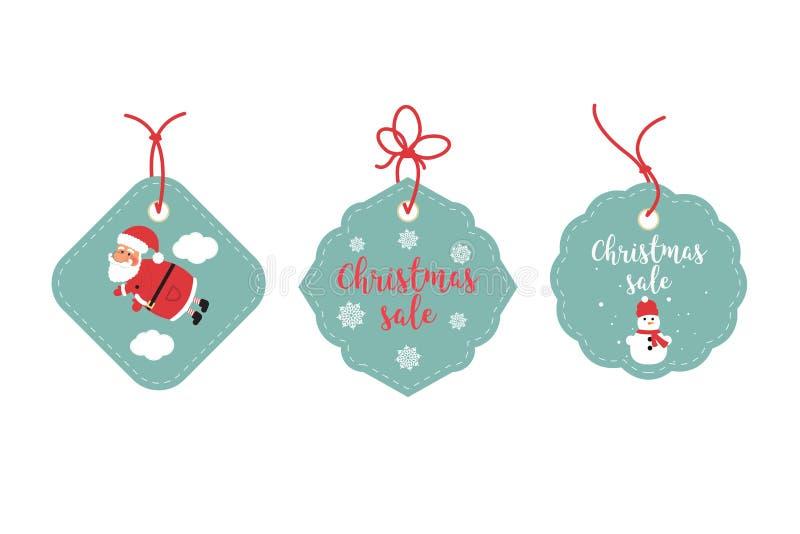 Detaljhandelsreaetiketter och rensningsetiketter Festlig juldesign Santa Claus, snöflingor och snögubbe royaltyfri illustrationer