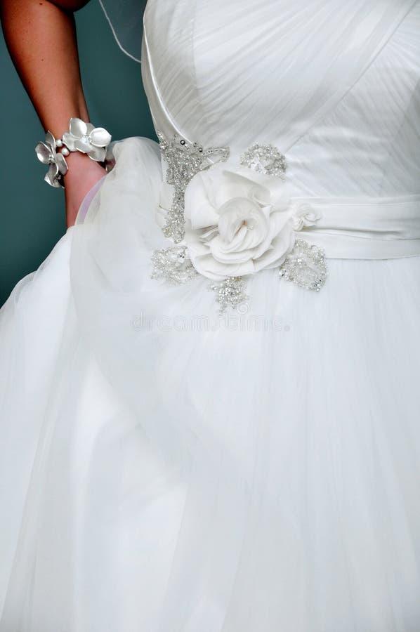 detaljklänningbröllop fotografering för bildbyråer
