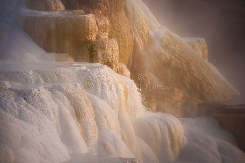 Detaljsikt av kanariefågelvåren av den kolossala varma våren i västra Yellowstone royaltyfria bilder