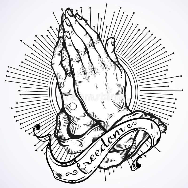 Detalló maravillosamente las manos humanas dobladas en rezo Súplica a dios Fe y esperanza Adornos religiosos Arte académico Arte  stock de ilustración