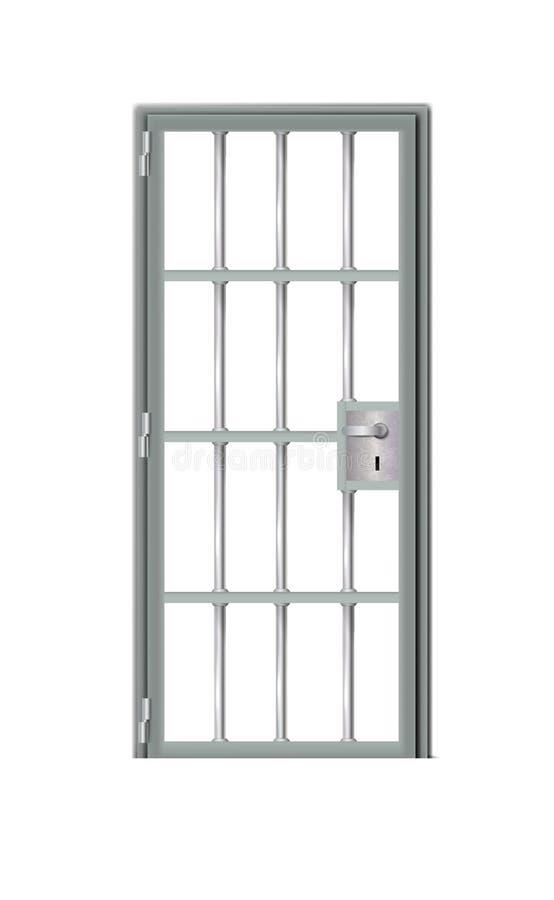 Detallado perceptiblemente mejor gris de la puerta de la prisión Detrás de barras en cárcel, sombra para cualquier fondo Ejemplo  libre illustration