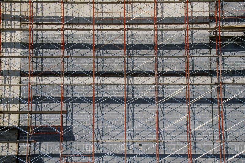 Detalle abstracto del andamio en la renovación del edificio, pie Valor, TX imágenes de archivo libres de regalías