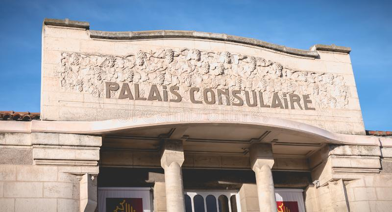 Detalle arquitectónico de Art Deco Building Consular Palace en Sete, Francia imágenes de archivo libres de regalías
