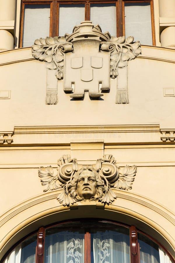 Detalle arquitectónico de la casa municipal, Art Nouveau, Praga, República Checa, día de verano soleado fotografía de archivo libre de regalías