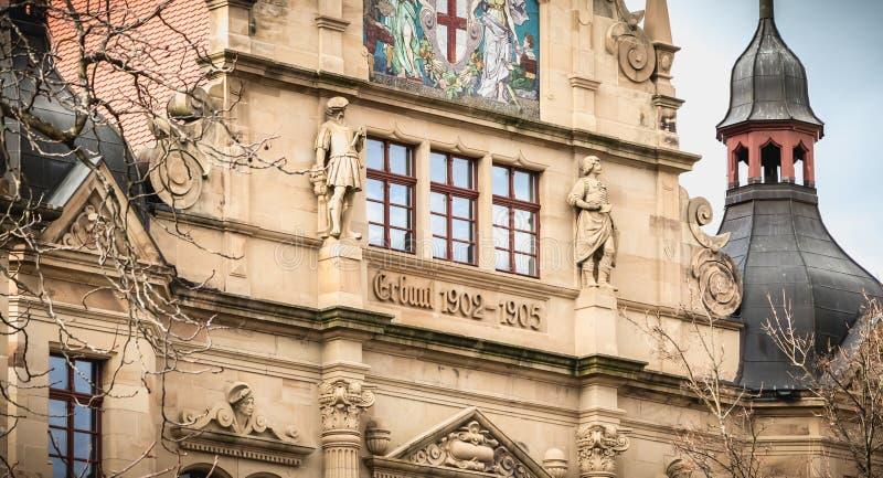 Detalle arquitectónico de la institución educativa Gertrud Luckner Gewerbeschule fotos de archivo libres de regalías