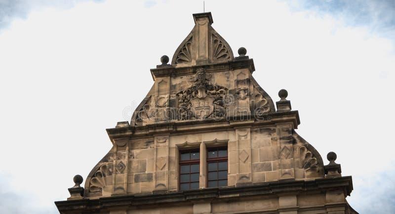 Detalle arquitectónico de la institución educativa Gertrud Luckner Gewerbeschule imágenes de archivo libres de regalías